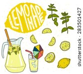 summer set with lemonade and it'... | Shutterstock .eps vector #283501427