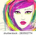 fashion illustration. portrait... | Shutterstock . vector #283502774