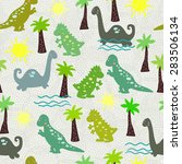 seamless children pattern with... | Shutterstock .eps vector #283506134