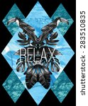 relax slogan. summer...   Shutterstock .eps vector #283510835