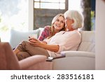 grandmother with adult... | Shutterstock . vector #283516181