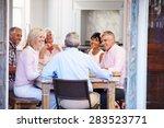 group of mature friends... | Shutterstock . vector #283523771