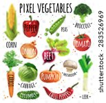 pixel vegetables corn  pepper ... | Shutterstock .eps vector #283526969