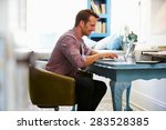 man at desk working in home... | Shutterstock . vector #283528385