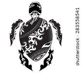 turtles   maori style   tattoo... | Shutterstock .eps vector #283558541
