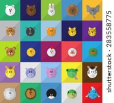 cartoon animals icons set  ...