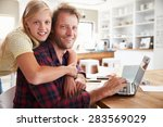 girl hugging her father ... | Shutterstock . vector #283569029