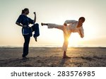 couple training in martial arts ... | Shutterstock . vector #283576985
