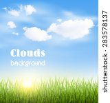 green grass lawn with clouds... | Shutterstock .eps vector #283578137