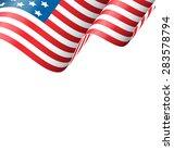 Wavy Usa National Flag Isolated ...