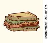 vintage sandwich illustration | Shutterstock .eps vector #283584575