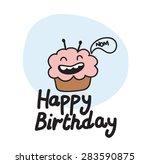 doodle birthday card | Shutterstock .eps vector #283590875