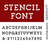 the stencil slab serif alphabet ... | Shutterstock .eps vector #283591277