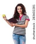beautiful teen girl with books... | Shutterstock . vector #283602281