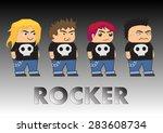 rocker cartoon characters   Shutterstock .eps vector #283608734