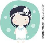 girl red indian vector kid decor   Shutterstock .eps vector #283618019