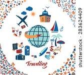 travel beach flat calligraphy... | Shutterstock .eps vector #283624409