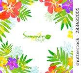 watercolor summer tropical... | Shutterstock .eps vector #283632005