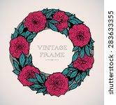 wreath of roses  peonies.... | Shutterstock .eps vector #283633355