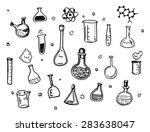 hand drawn chemistry flasks... | Shutterstock .eps vector #283638047