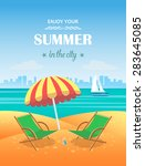 summer tropical poster. vector... | Shutterstock .eps vector #283645085