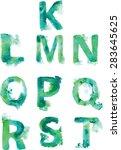 alphabet   hand drawn blue... | Shutterstock .eps vector #283645625