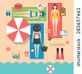 summer holiday vacation on the... | Shutterstock .eps vector #283657661