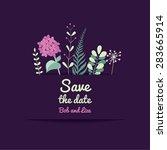 flower cards wedding...   Shutterstock .eps vector #283665914
