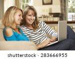mother with teenage daughter... | Shutterstock . vector #283666955