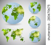 set of the world globes. world... | Shutterstock .eps vector #283670675