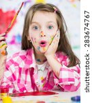 portrait of a cute cheerful... | Shutterstock . vector #283674767