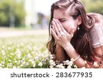 pollen allergy  girl sneezing... | Shutterstock . vector #283677935