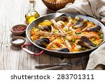 Traditional Seafood Paella In...