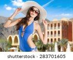 swimsuit  fashion  tan. | Shutterstock . vector #283701605