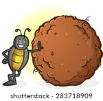 Dung Beetle With A Big Ball Of...