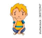 sad kid  vector   Shutterstock .eps vector #283722947