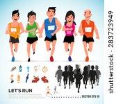 happy runner group with running ... | Shutterstock .eps vector #283723949