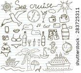 hand drawn sketch sea cruise... | Shutterstock .eps vector #283725311