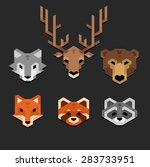 stylized geometric animal heads ... | Shutterstock .eps vector #283733951
