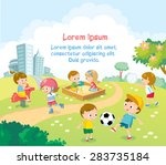 children playing outdoors with... | Shutterstock .eps vector #283735184