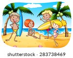 people with surfboard hanging... | Shutterstock .eps vector #283738469