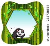 happy panda with bamboo... | Shutterstock .eps vector #283738589