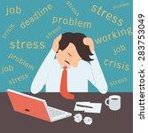 stressed businessman  sitting... | Shutterstock .eps vector #283753049