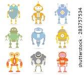 robot set  vector | Shutterstock .eps vector #283757534