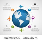 abstract global airplane... | Shutterstock .eps vector #283763771