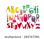 fonts hand drawn in watercolor... | Shutterstock .eps vector #283767281