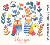 I love you. Lovely vector card with sweet owls, butterfly and flowers in awesome colors. Stunning romantic card made in watercolor technique. Bright Valentines background with text in vector