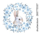 Stock vector white rabbit rabbit and floral wreath watercolor illustration in vector isolated on white 283775537