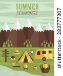 summer camp card design. vector ...   Shutterstock .eps vector #283777307