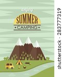 summer camp card design. vector ... | Shutterstock .eps vector #283777319
